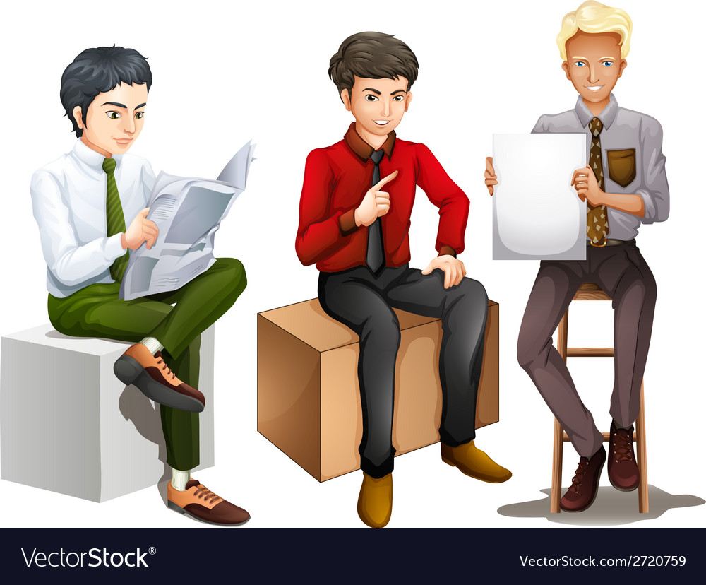 Three men sitting down while reading talking and vector | Price: 1 Credit (USD $1)