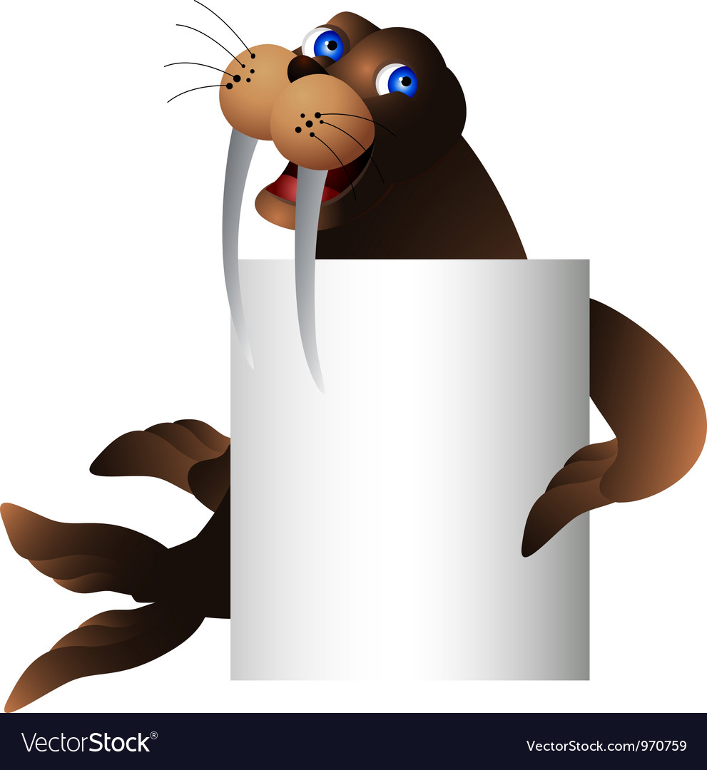 Walrus with blank sign vector | Price: 3 Credit (USD $3)