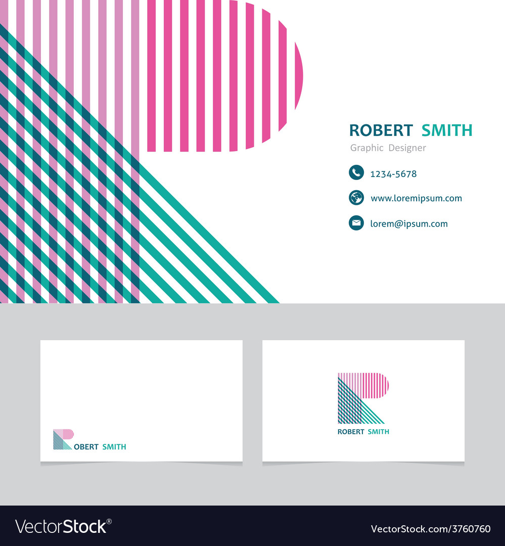 Business card template with a letter r vector | Price: 1 Credit (USD $1)