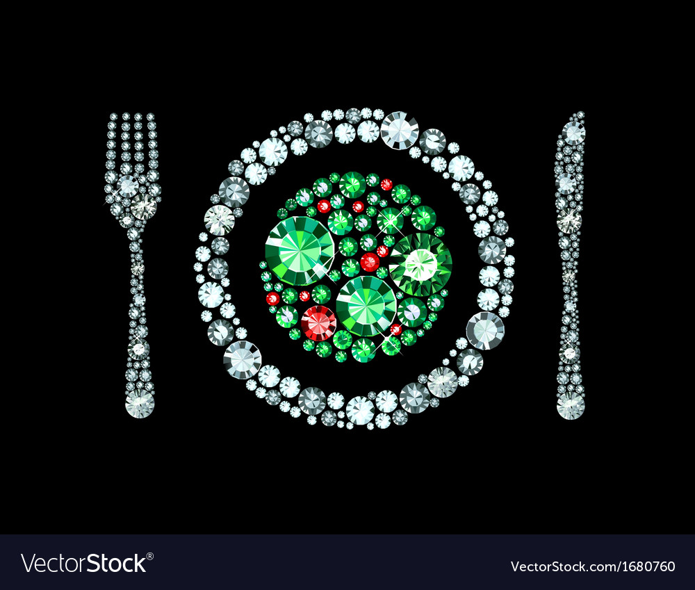 Diamond plate with knife and fork vector | Price: 1 Credit (USD $1)
