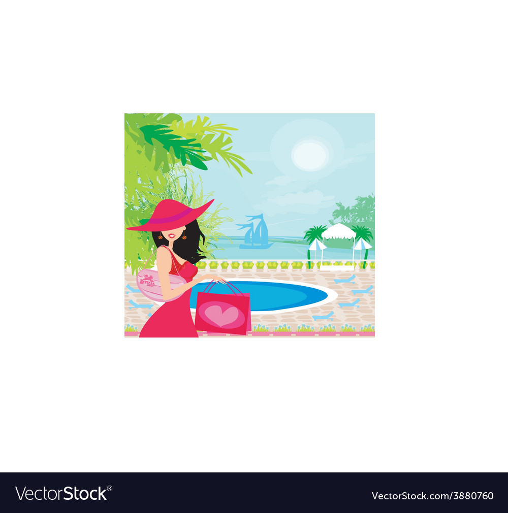 Elegant woman on tropical vacation vector | Price: 1 Credit (USD $1)