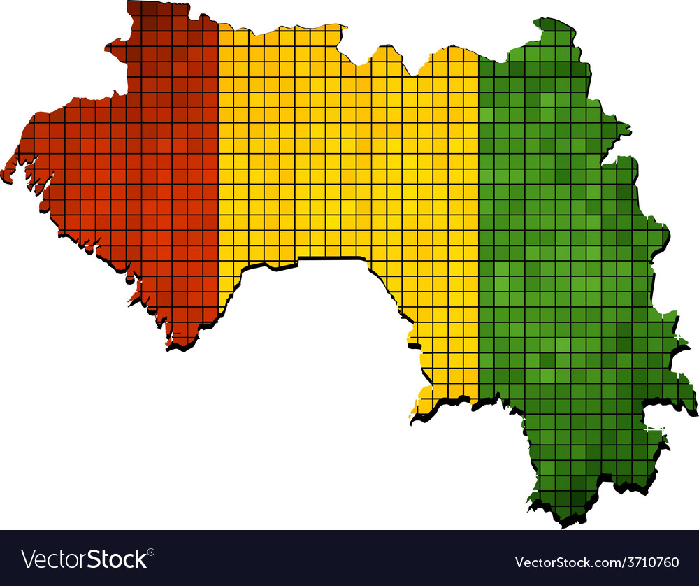 Guinea map with flag inside vector | Price: 1 Credit (USD $1)
