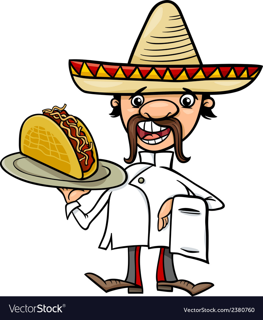 Mexican chef with taco cartoon vector | Price: 1 Credit (USD $1)