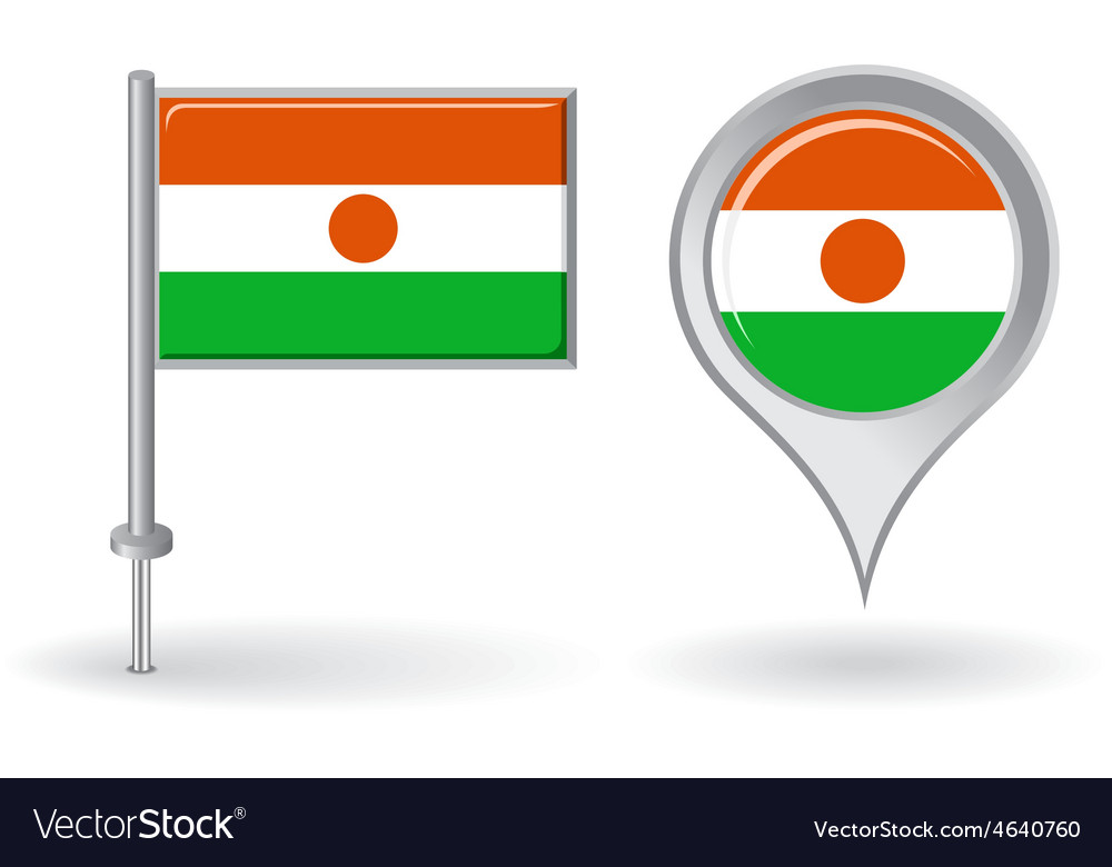 Niger pin icon and map pointer flag vector | Price: 1 Credit (USD $1)