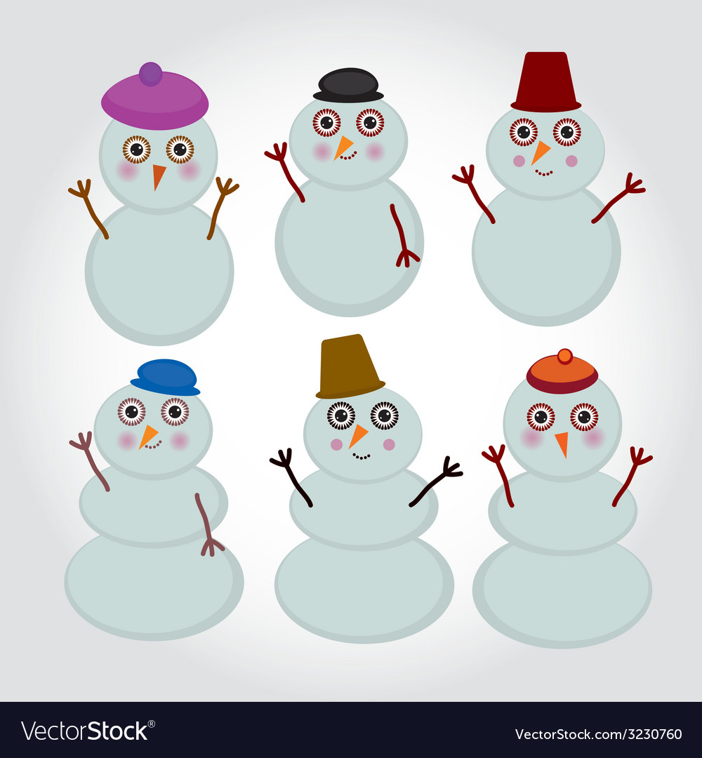 Set of cute cartoon snowmen for winter design vector | Price: 1 Credit (USD $1)