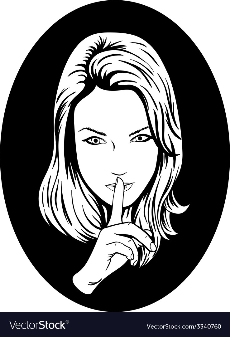 Silence girl vector | Price: 1 Credit (USD $1)