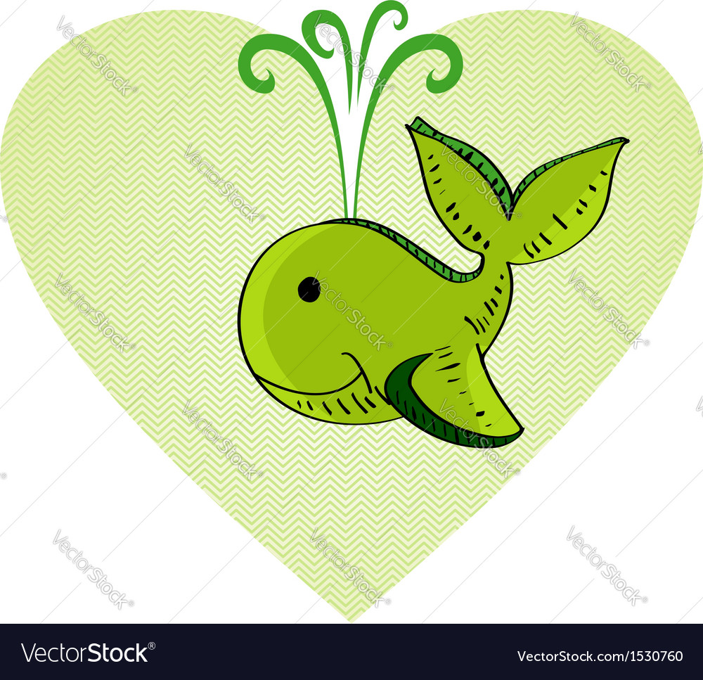 Sketch style green whale love concept vector | Price: 1 Credit (USD $1)
