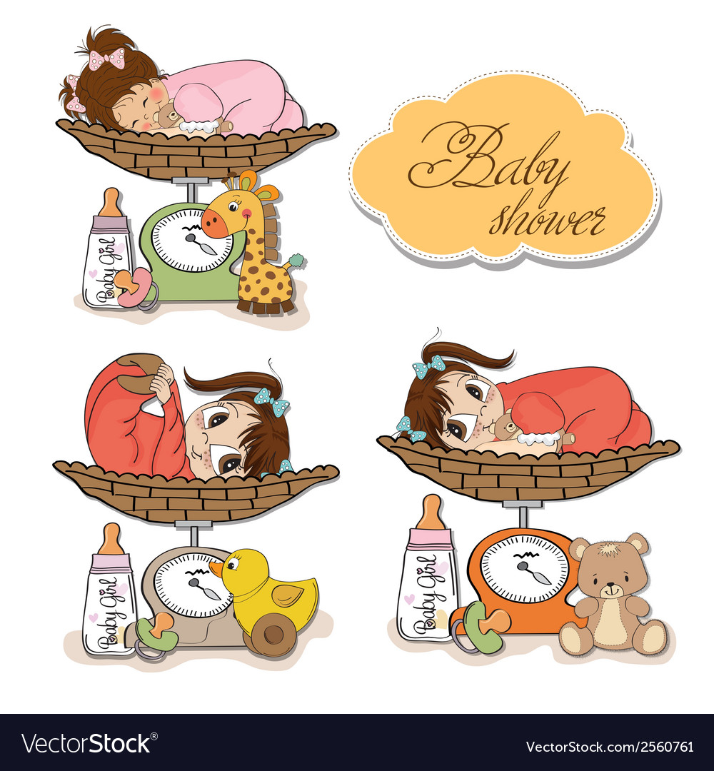 Baby girl on on weighing scale items set on white vector | Price: 1 Credit (USD $1)