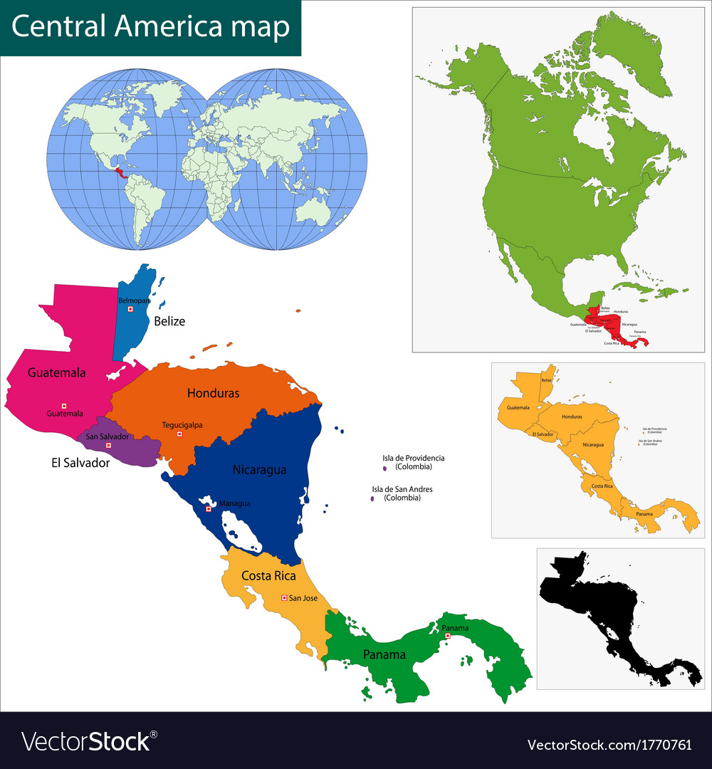 Central america map vector | Price: 1 Credit (USD $1)