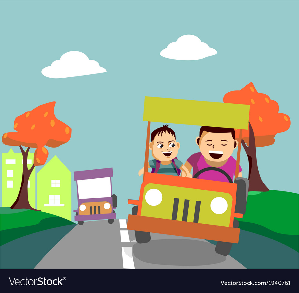 Father and son driving away from the city vector | Price: 1 Credit (USD $1)
