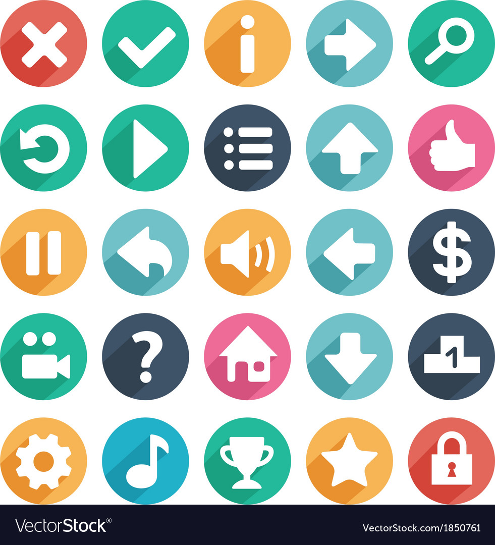 Flat and round game icons vector | Price: 1 Credit (USD $1)