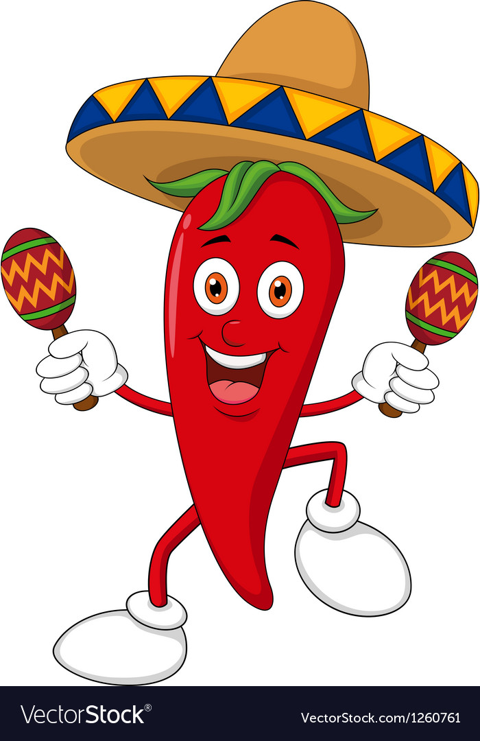 Happy chili pepper dancing with maracas vector | Price: 3 Credit (USD $3)