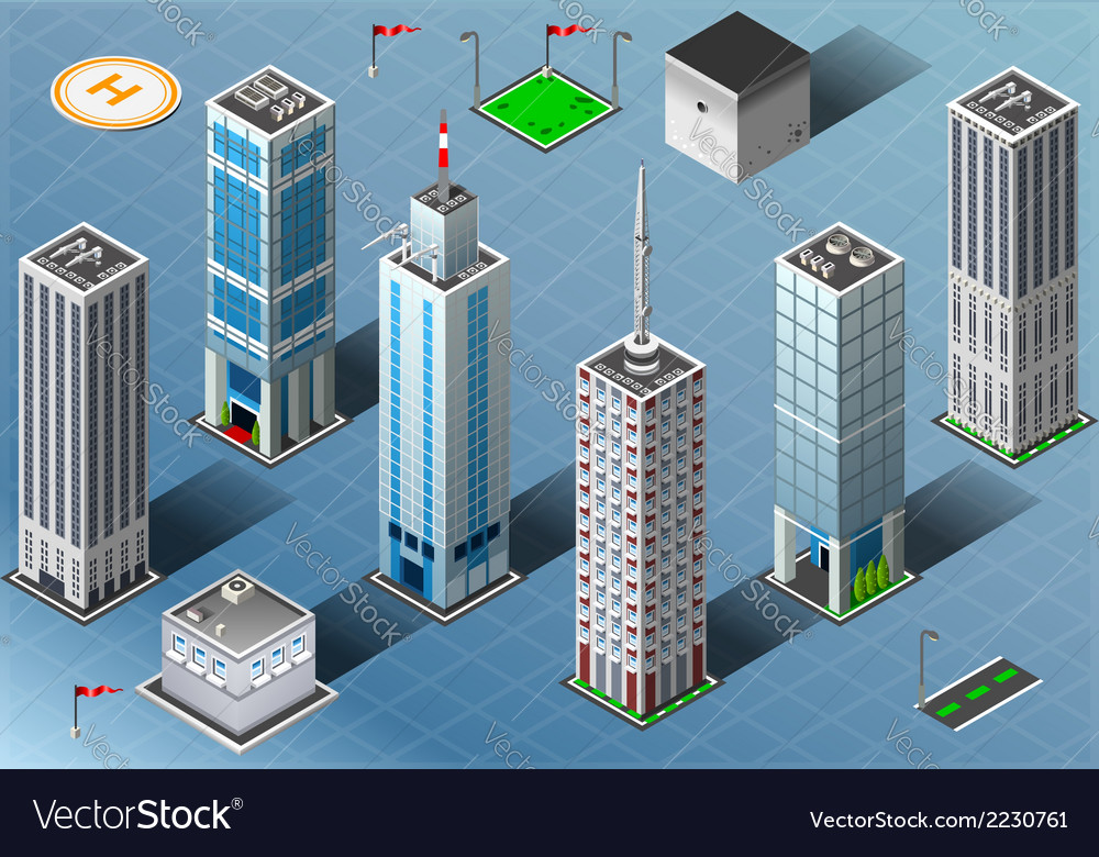 Isometric buildings set vector | Price: 1 Credit (USD $1)