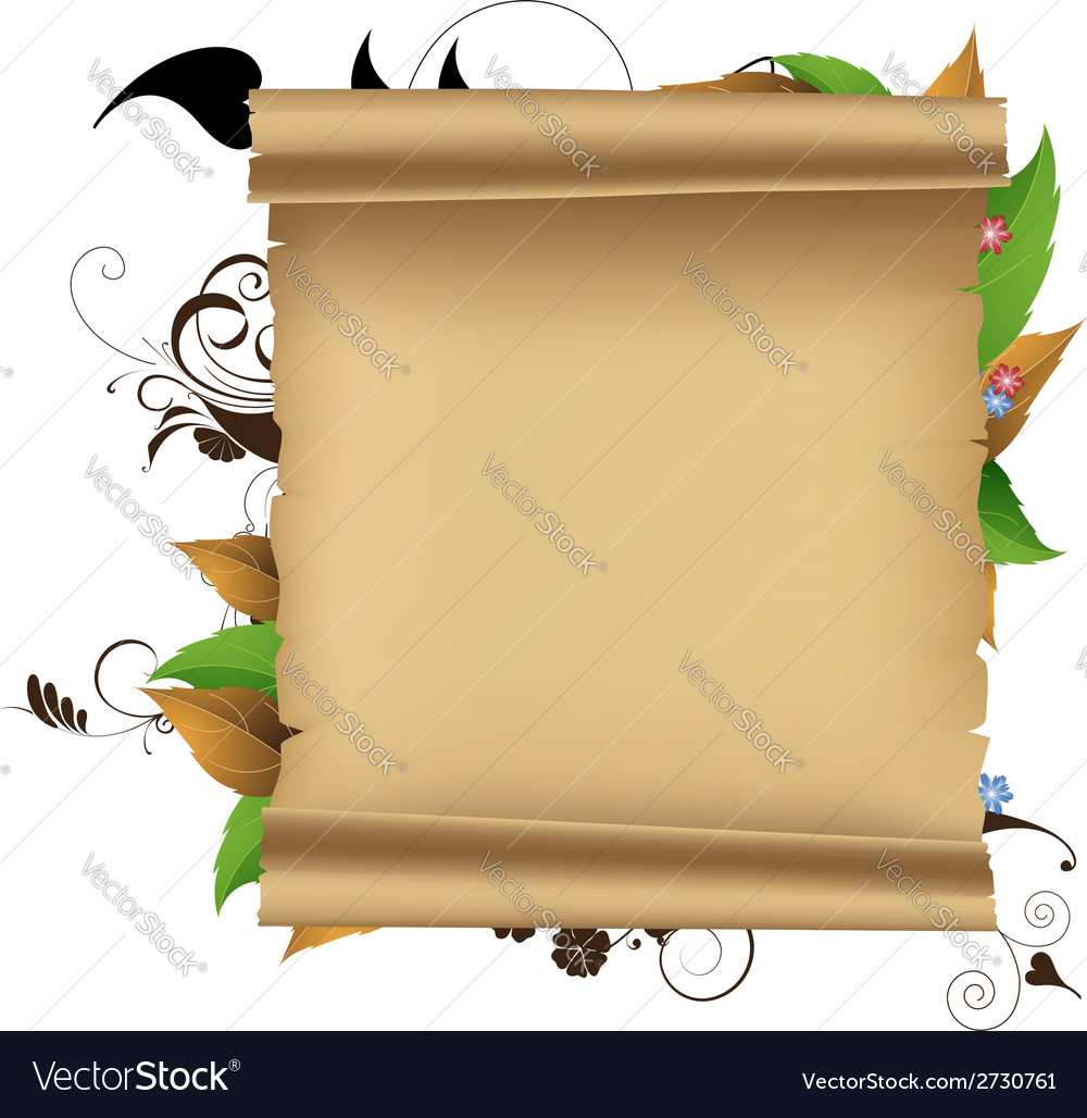 Parchment and plants vector | Price: 1 Credit (USD $1)