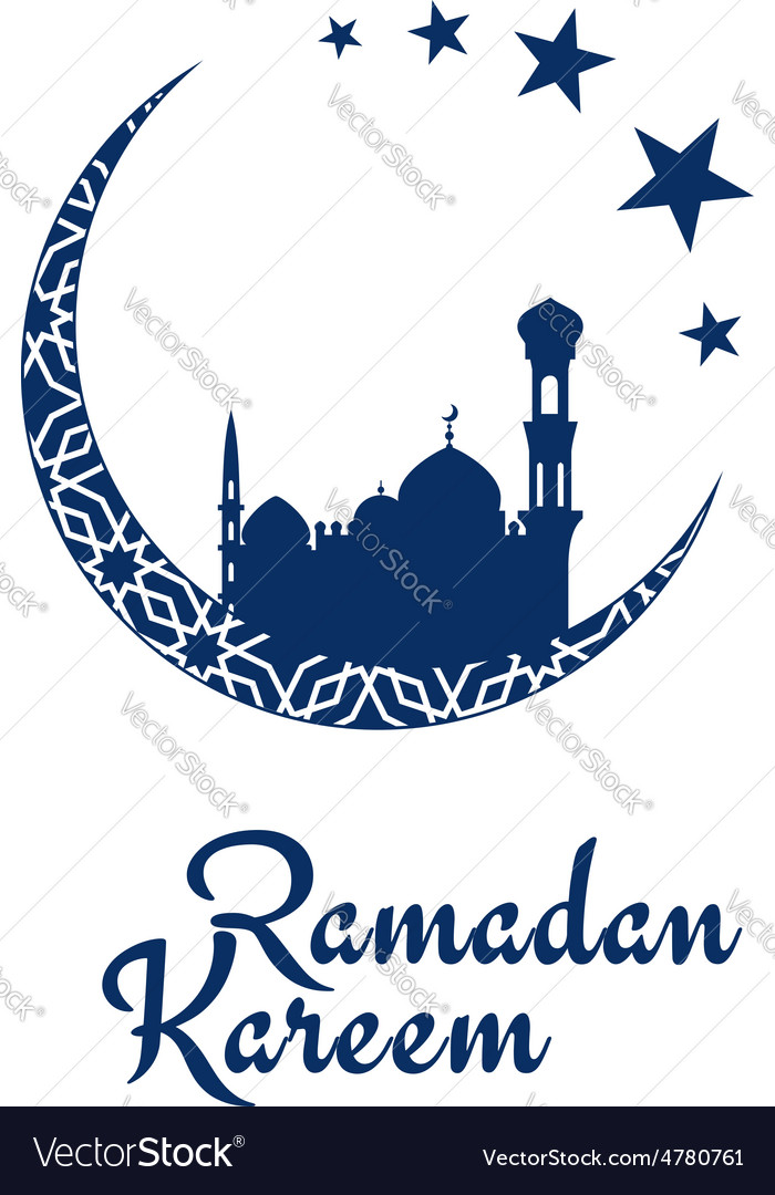 Ramadan kareem design with mosque and moon vector | Price: 1 Credit (USD $1)