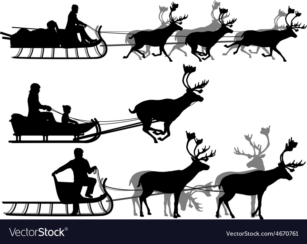 Reindeer sleighs vector | Price: 1 Credit (USD $1)