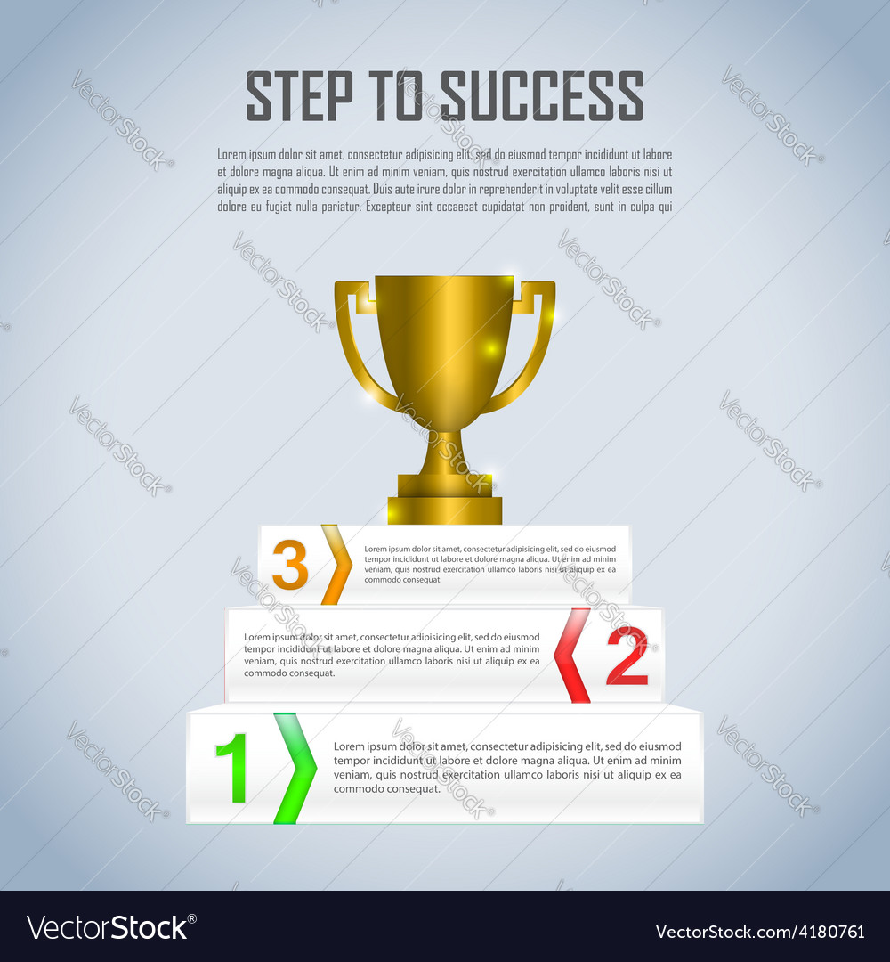 Step to success with winner trophy infographic vector | Price: 1 Credit (USD $1)
