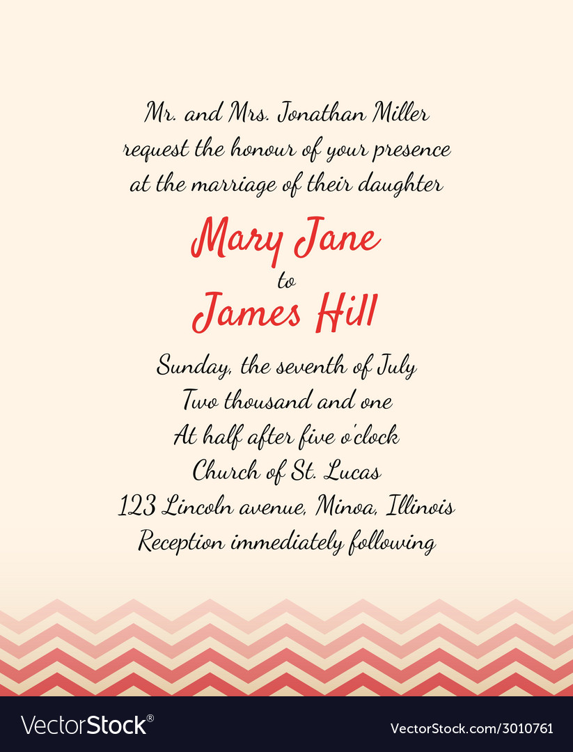 Wedding invitation with zigzag elements vector | Price: 1 Credit (USD $1)