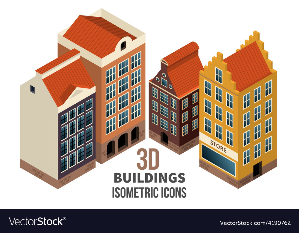 Building icons 3d vector | Price: 1 Credit (USD $1)