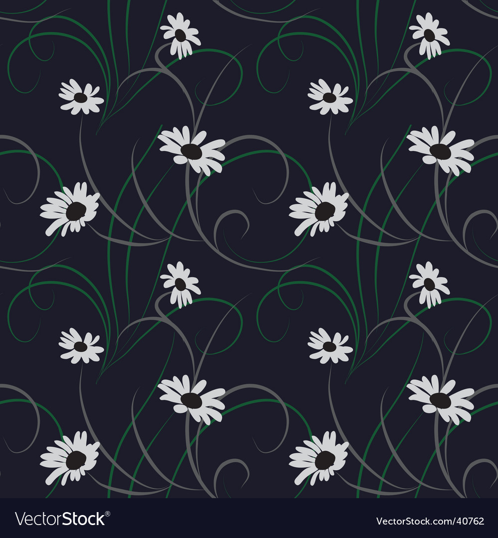 Flower seamless dark blue background vector | Price: 1 Credit (USD $1)