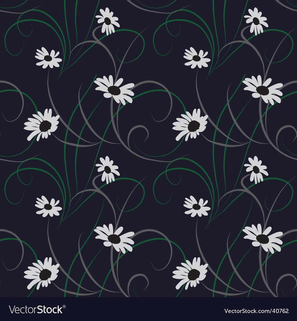 Flower seamless dark blue background vector | Price: 1 Credit (USD $1)