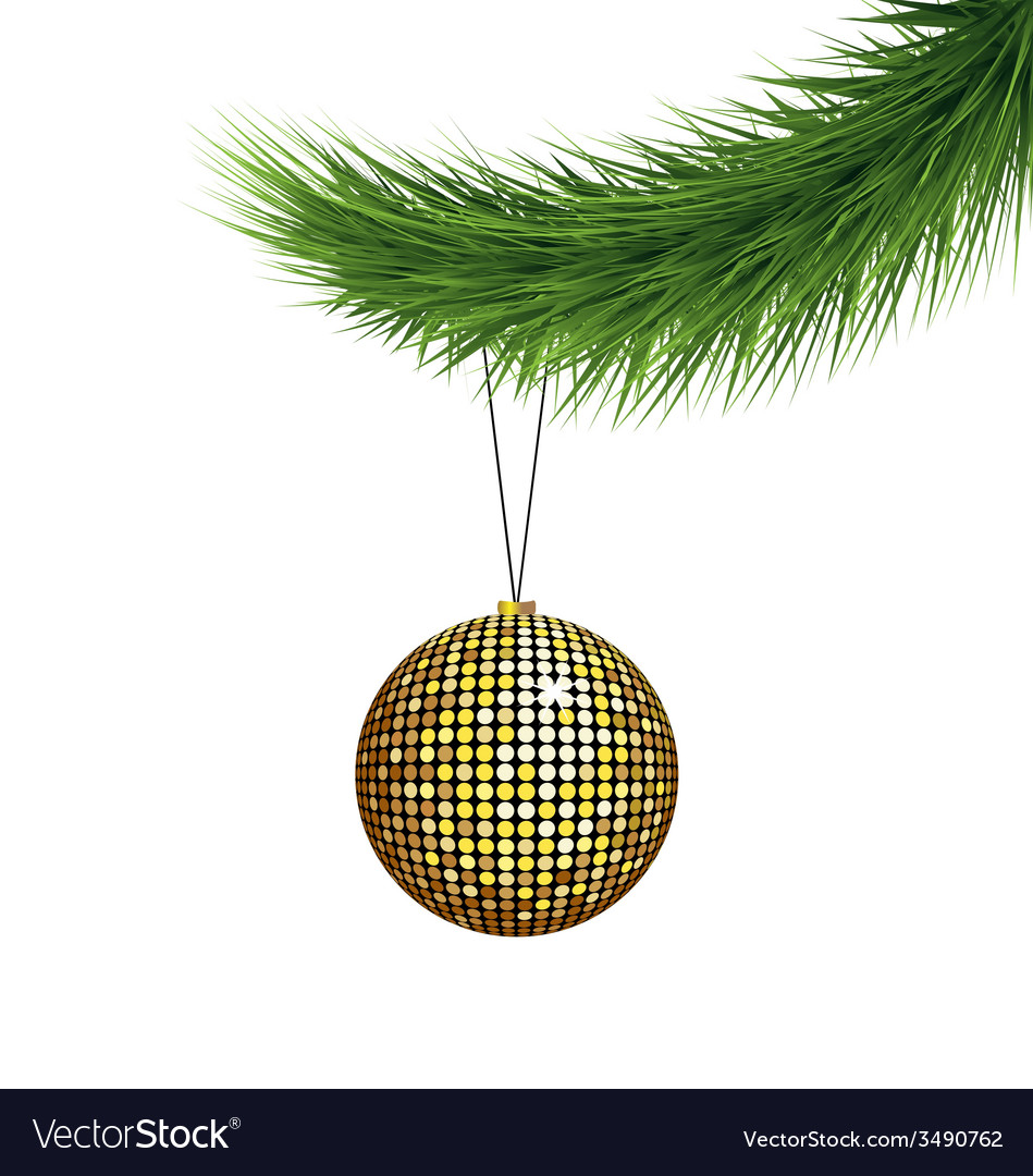 Golden christmas ball on pine branch vector | Price: 1 Credit (USD $1)