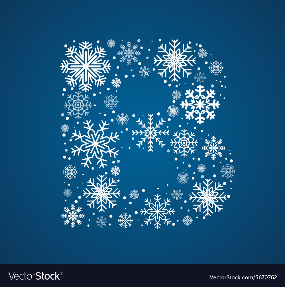 Letter b font frosty snowflakes vector   Price: 1 Credit (USD $1)