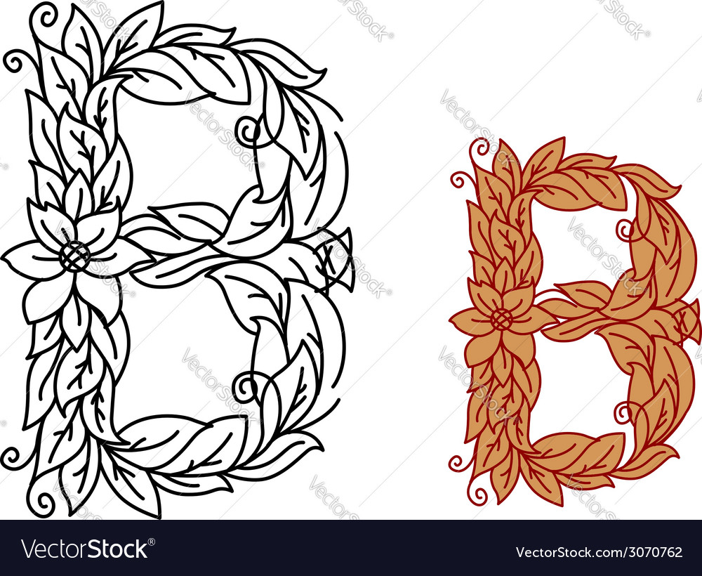 Letter b in floral and foliate font vector | Price: 1 Credit (USD $1)