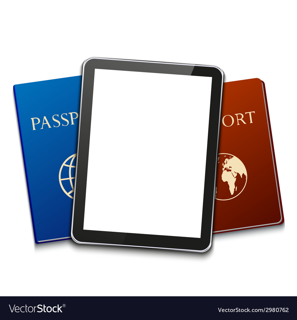 Modern computer tablet with passport vector   Price: 1 Credit (USD $1)