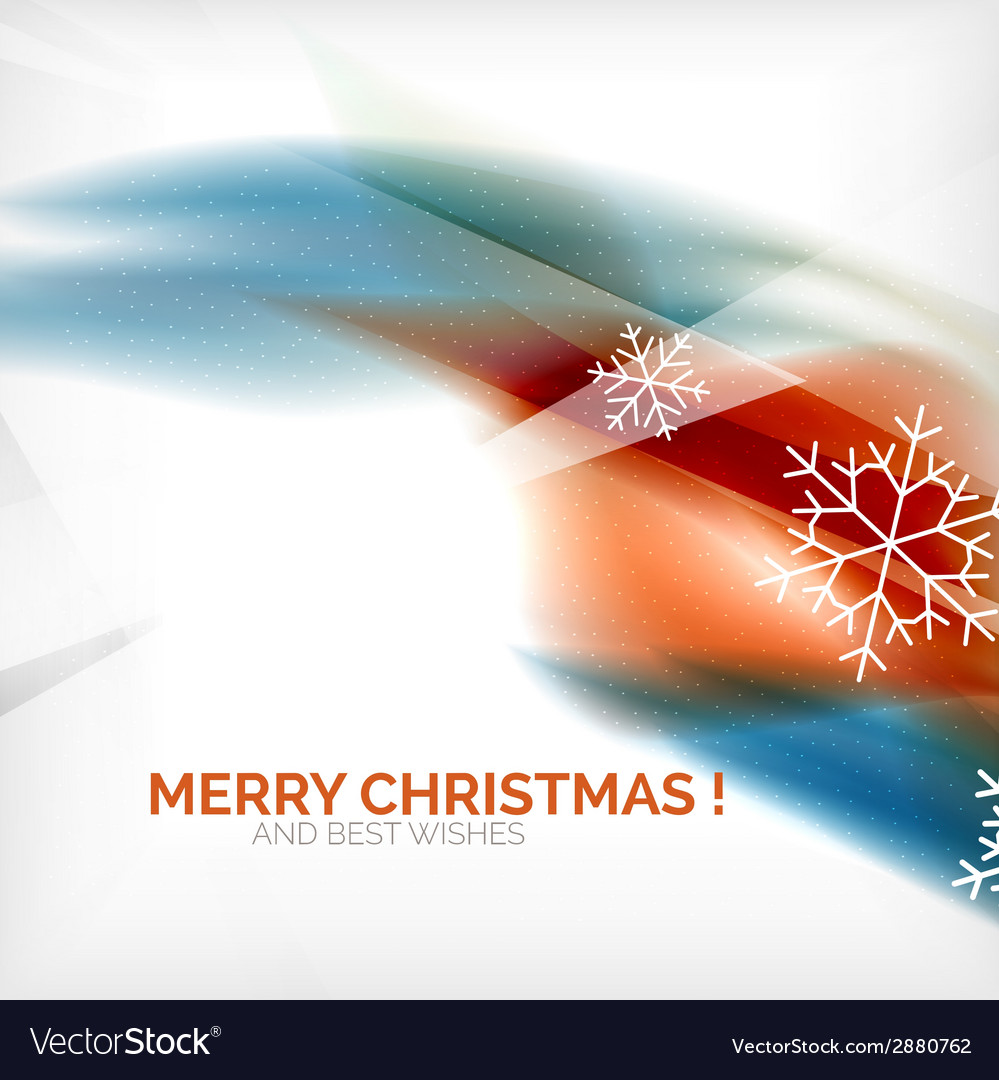 Orange christmas blurred waves and snowflakes vector | Price: 1 Credit (USD $1)