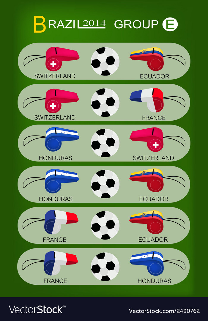 Soccer tournament of brazil 2014 group e vector   Price: 1 Credit (USD $1)