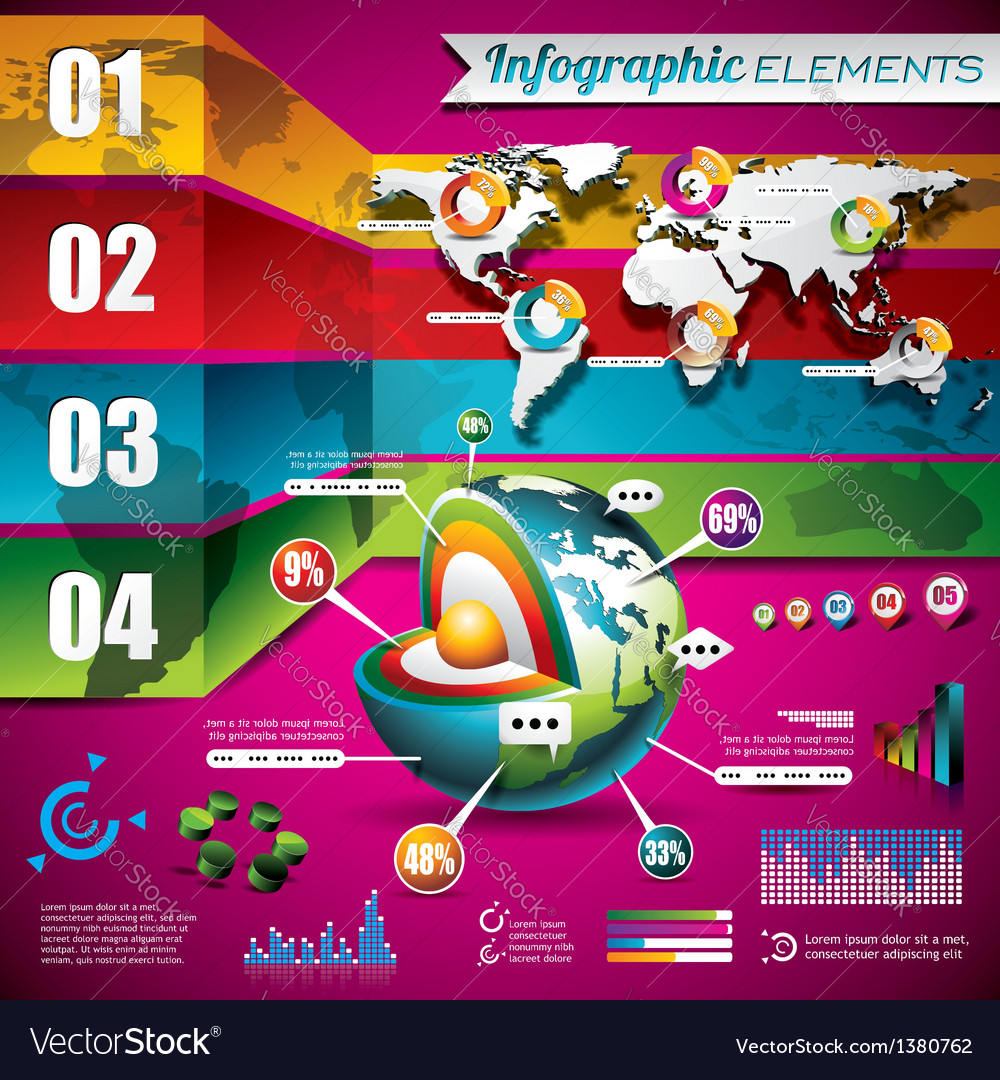 Technology design set of infographic elements vector | Price: 3 Credit (USD $3)