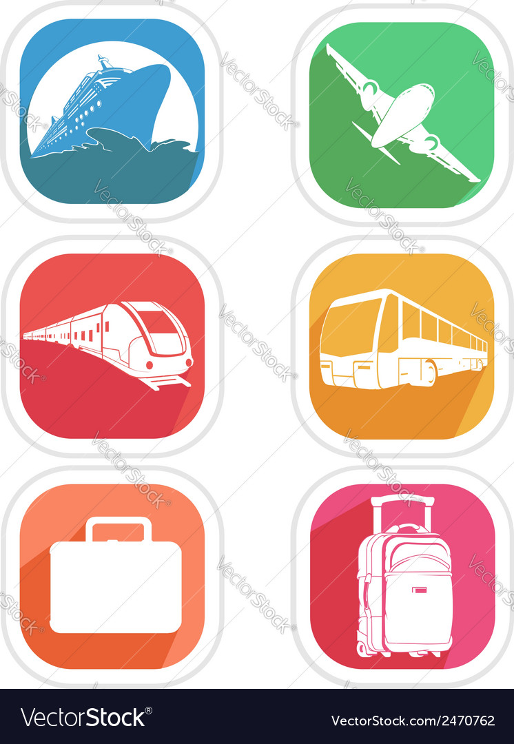 Transportation icon airplane cruise ship train bus vector | Price: 1 Credit (USD $1)