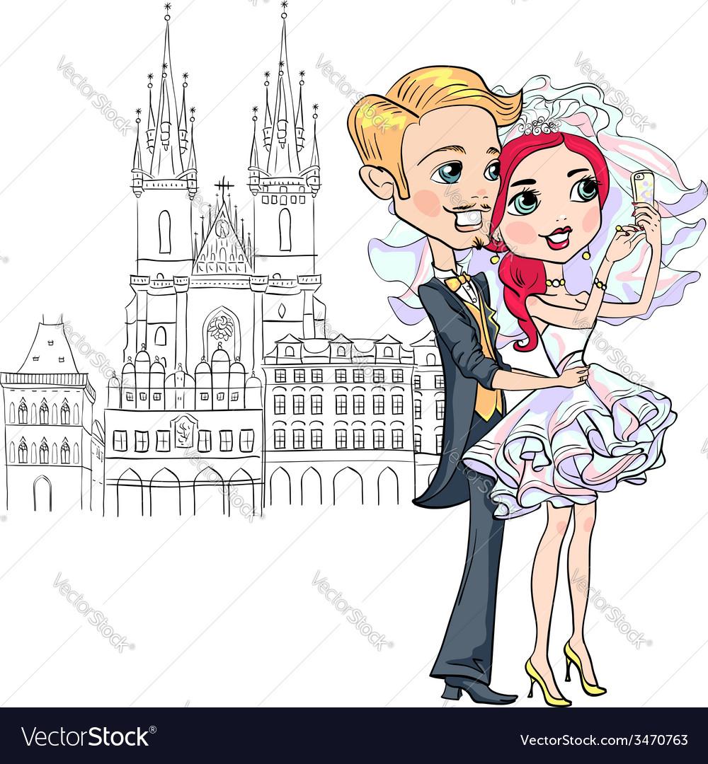 Bride and groom make selfie in prague vector | Price: 1 Credit (USD $1)