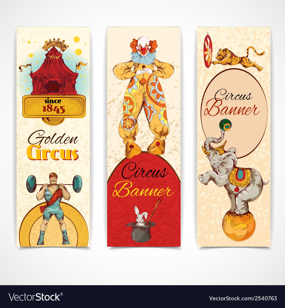 Circus vintage banners set vector | Price: 3 Credit (USD $3)