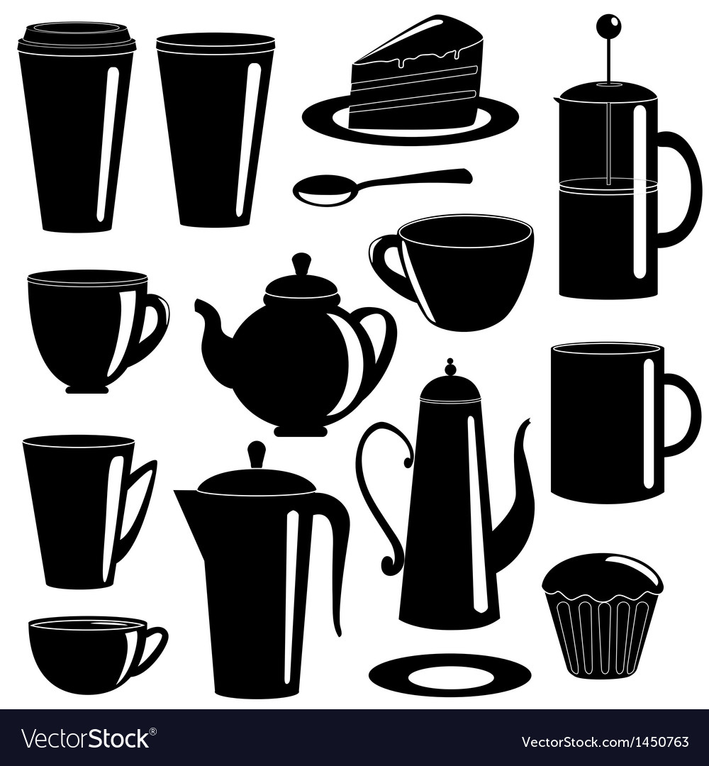 Collection of tea and coffee items silhouettes vector | Price: 1 Credit (USD $1)
