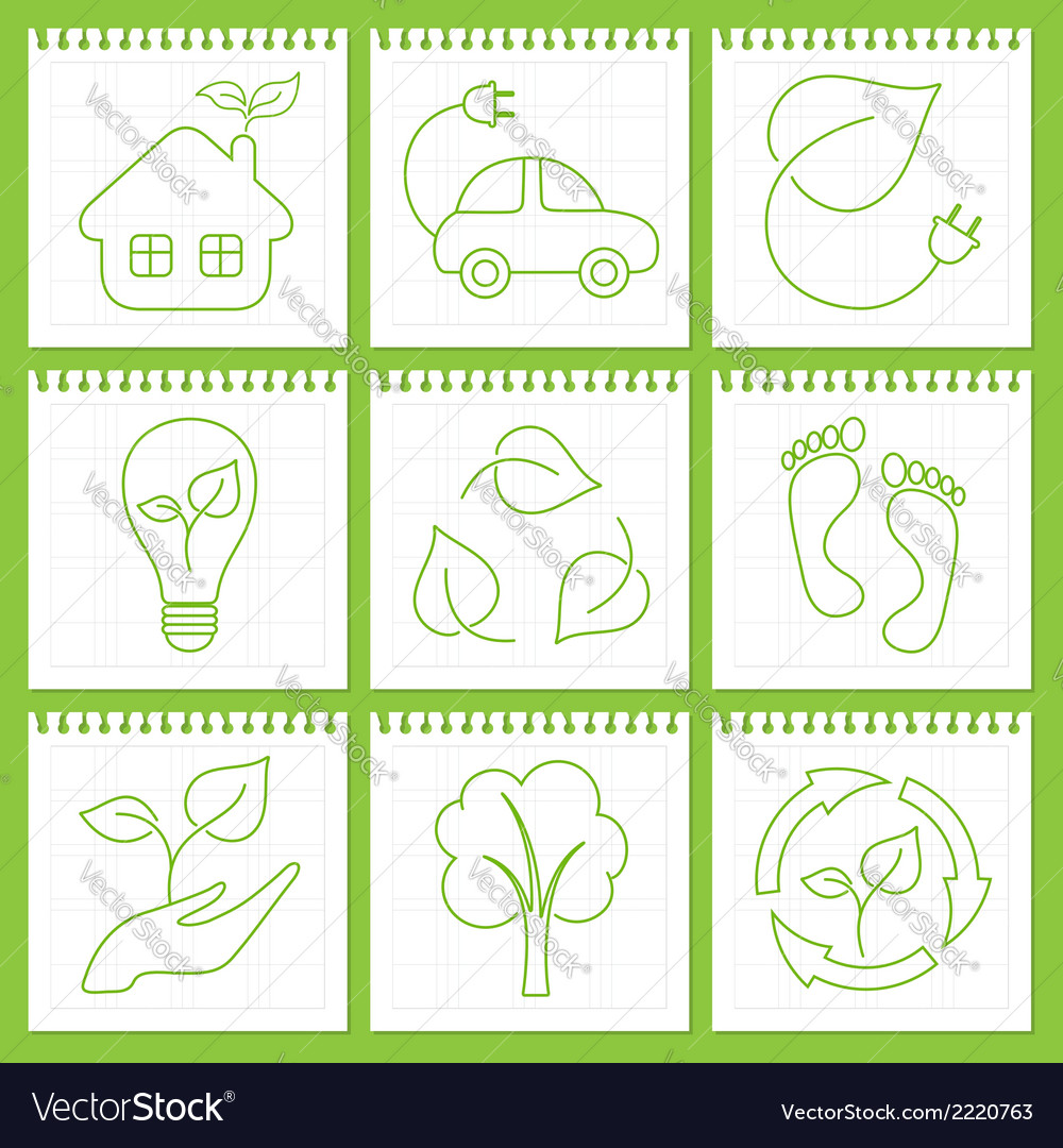 Eco friendly icons vector | Price: 1 Credit (USD $1)