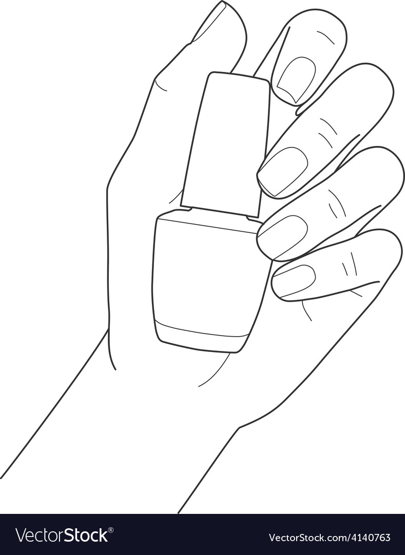 Female hand with manicure holding nail polish vector | Price: 1 Credit (USD $1)
