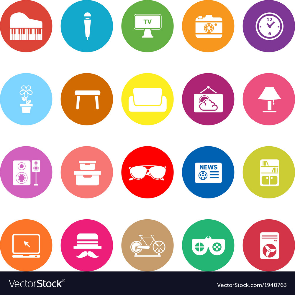 Living room flat icons on white background vector   Price: 1 Credit (USD $1)