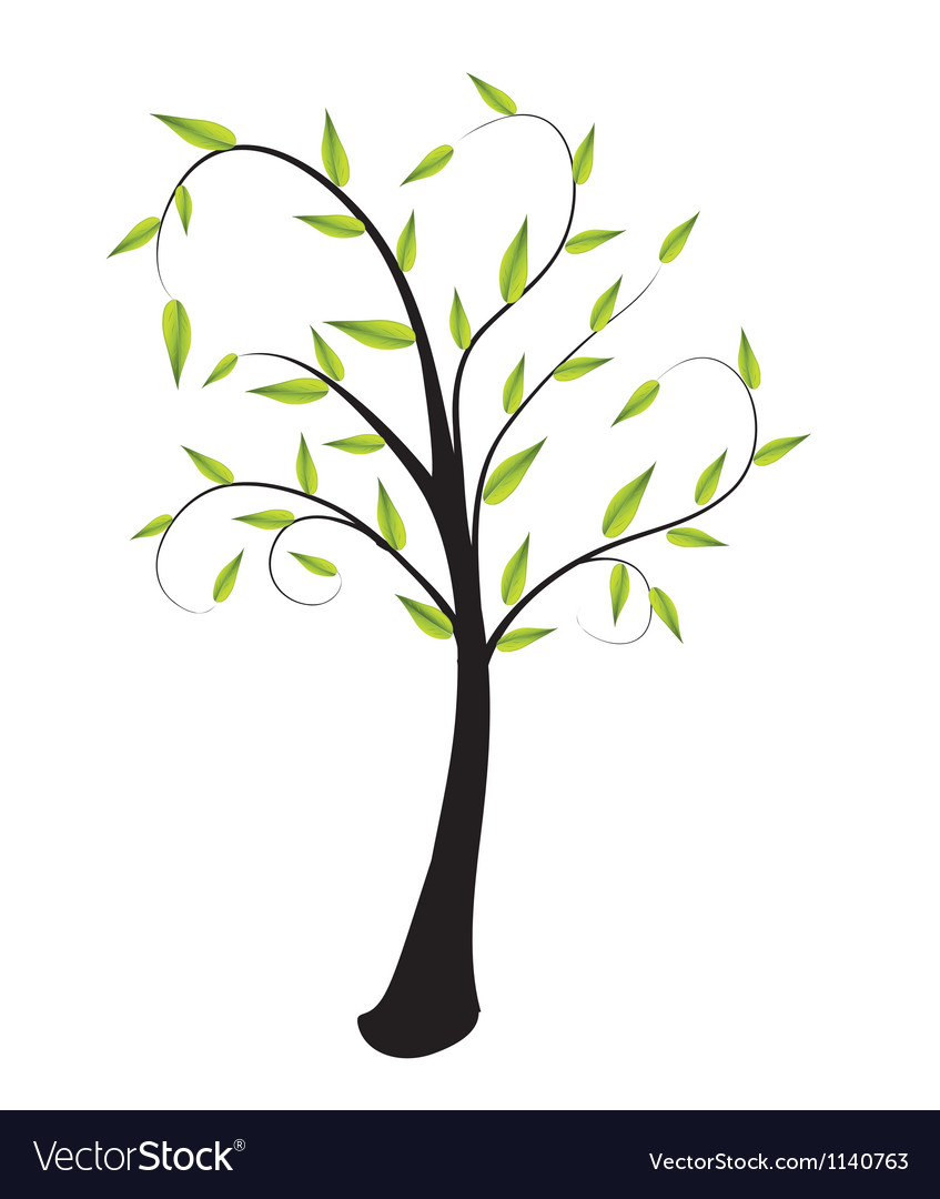 Lone tree with leaves vector