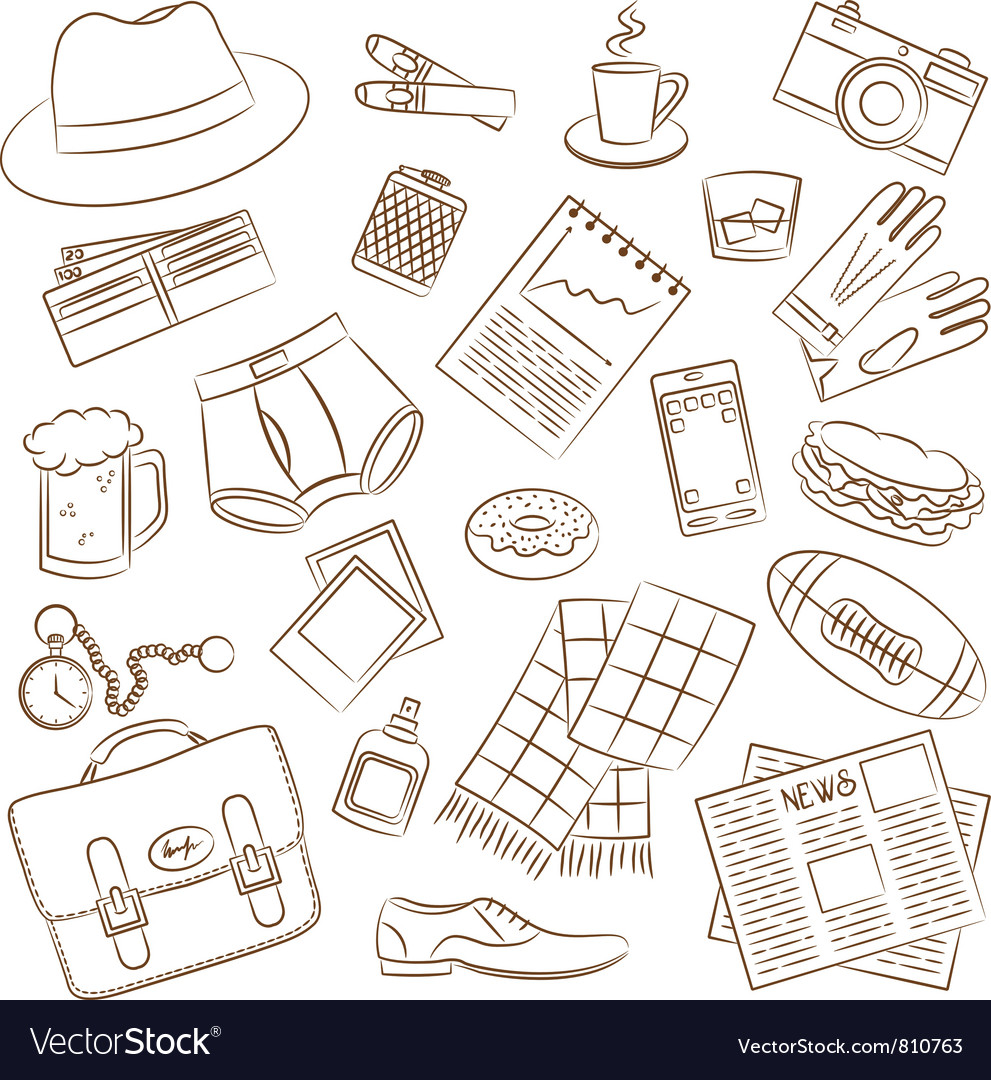 Male things doodle vector | Price: 1 Credit (USD $1)
