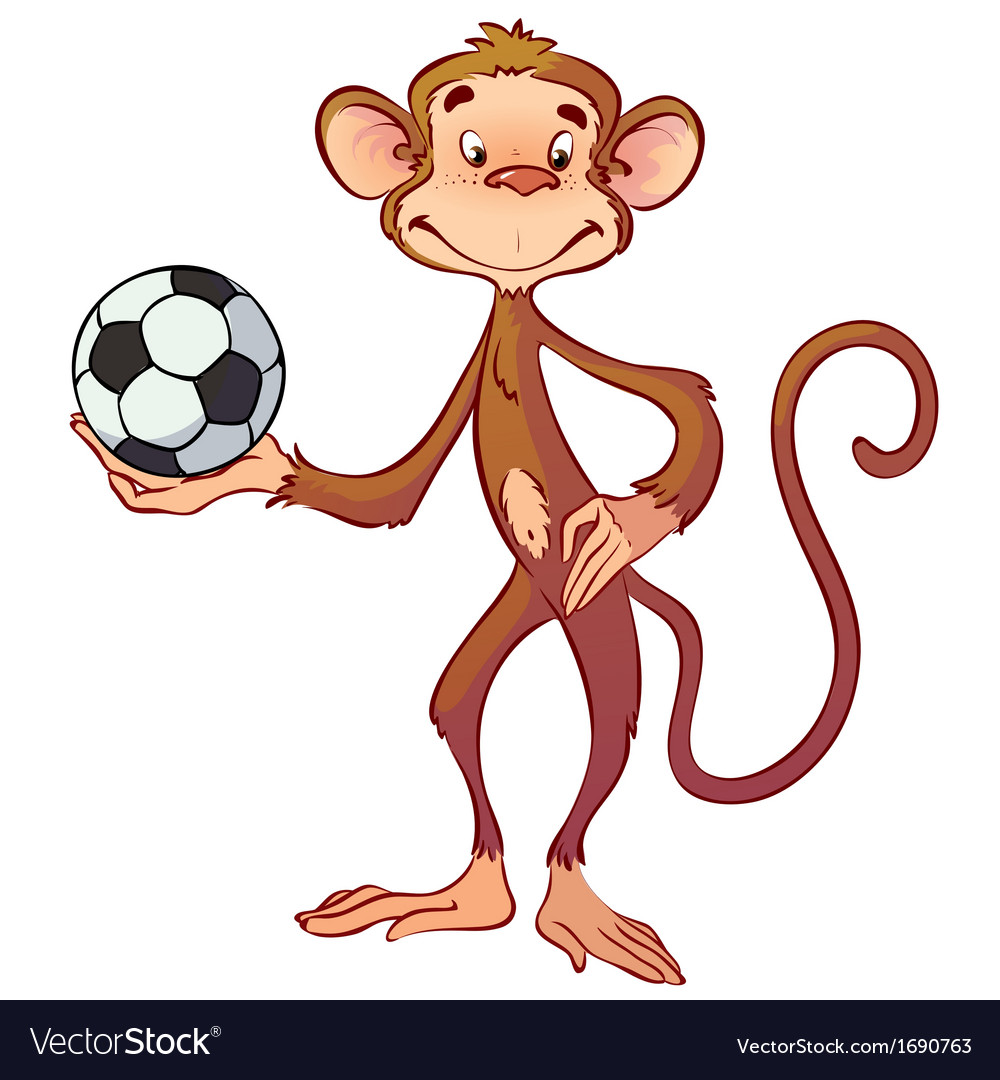 Monkey with a soccer ball vector | Price: 1 Credit (USD $1)
