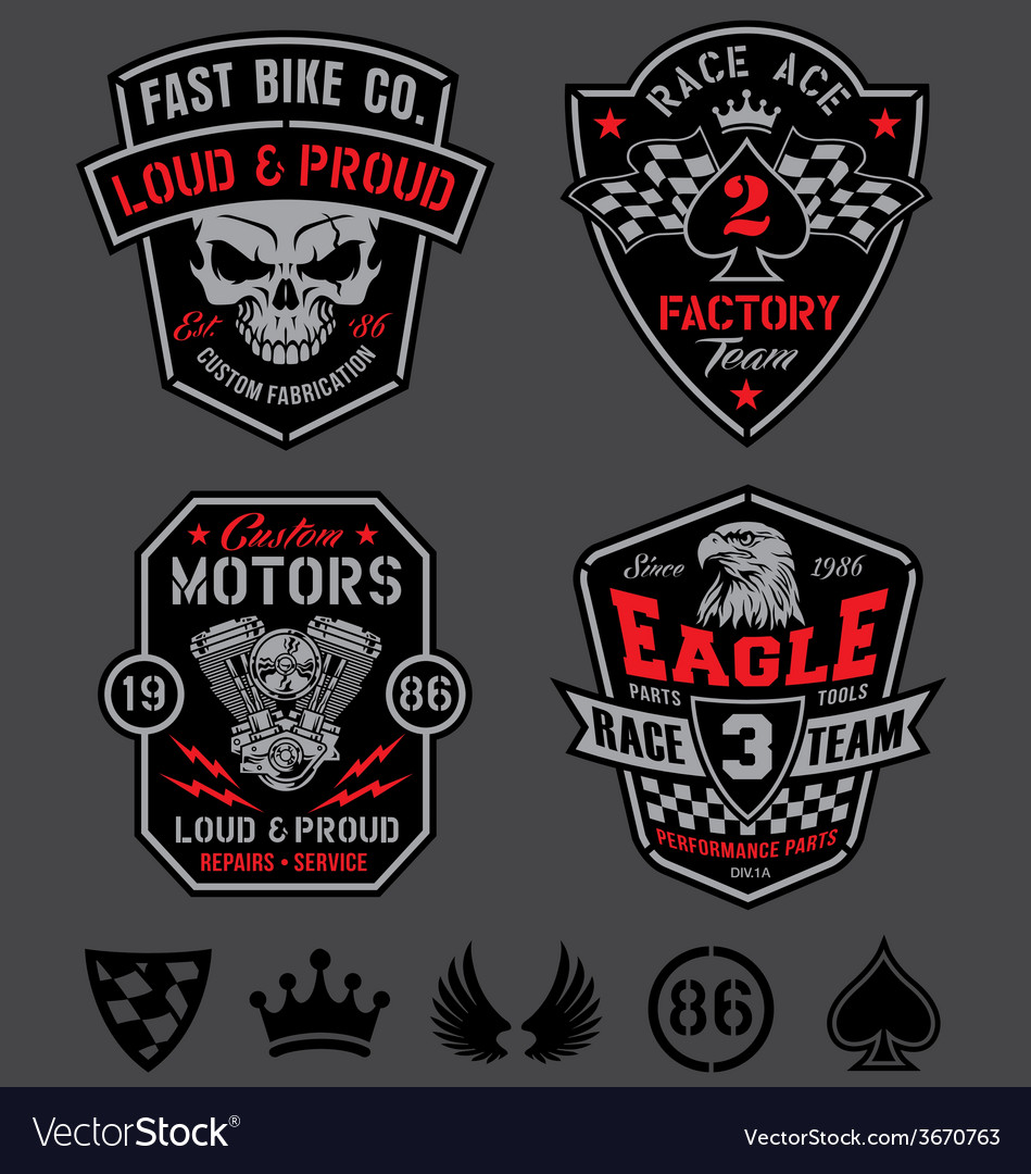 Motor racing emblem patch set vector
