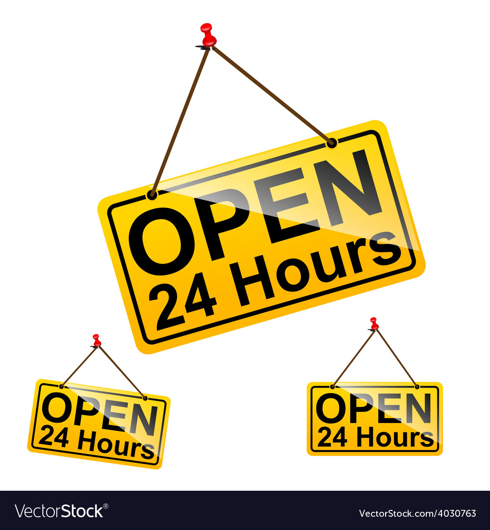 Open 24 hours sign message symbol vector | Price: 1 Credit (USD $1)