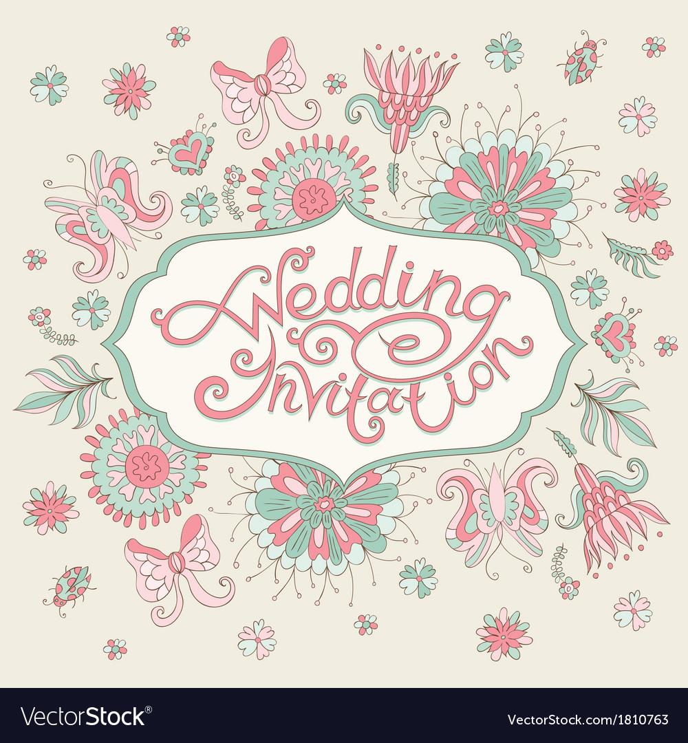 Pink wedding invitation vector | Price: 1 Credit (USD $1)