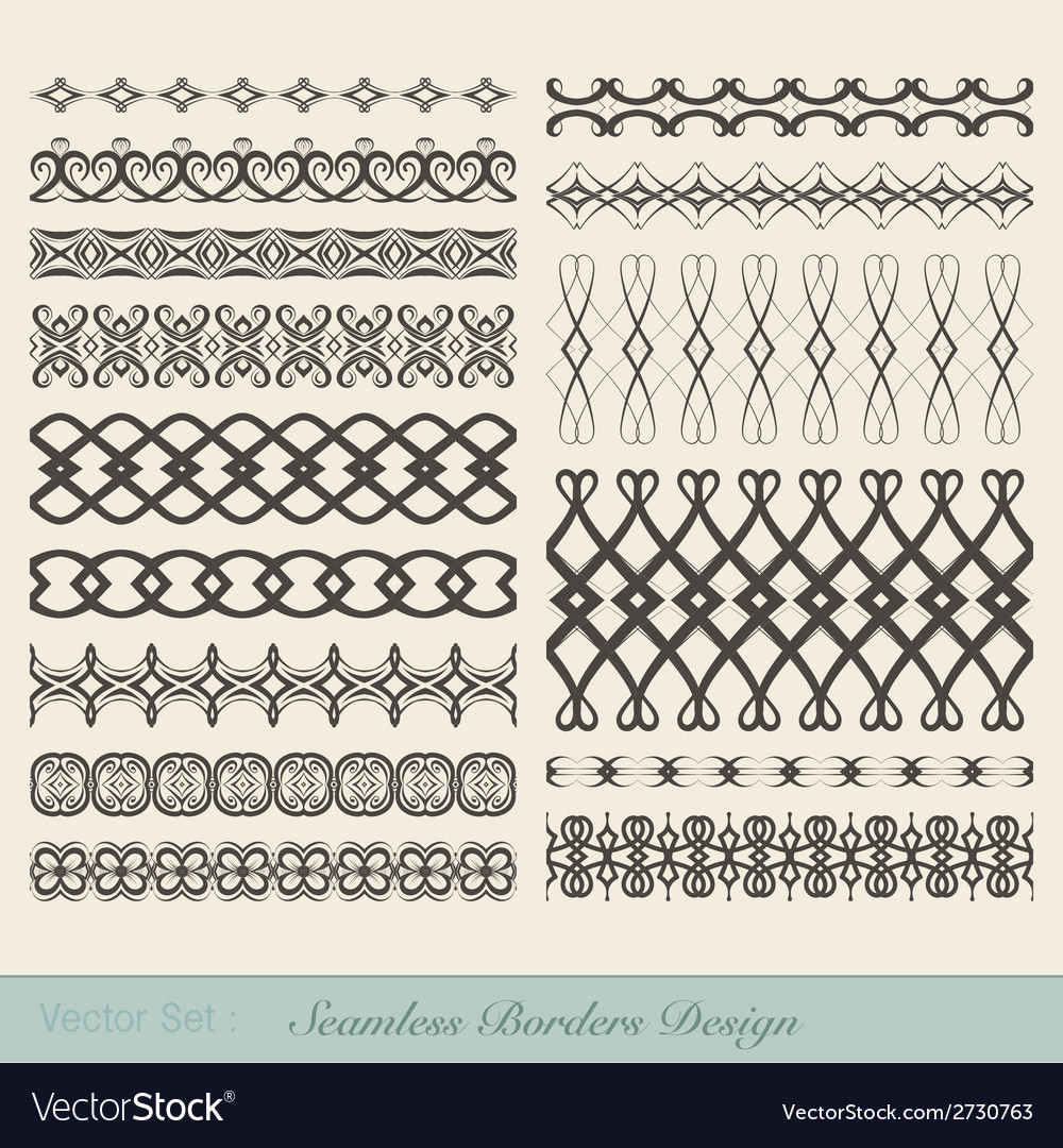 Seamless borders design vector