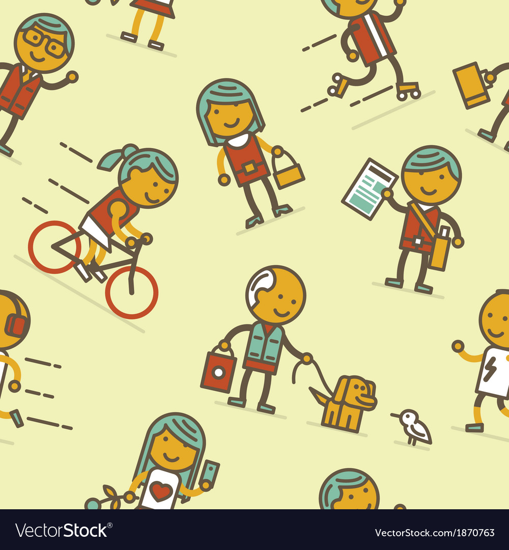 Seamless pattern with people of big city vector | Price: 1 Credit (USD $1)