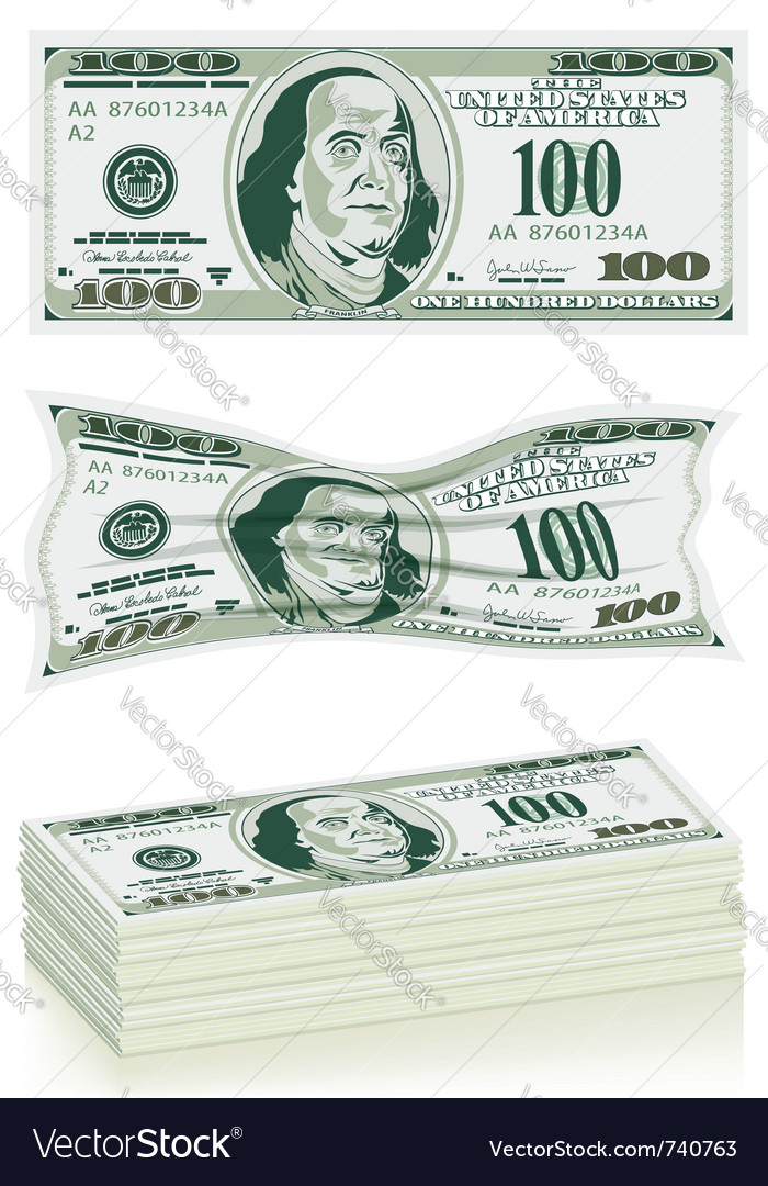 Set dollar bills vector | Price: 3 Credit (USD $3)