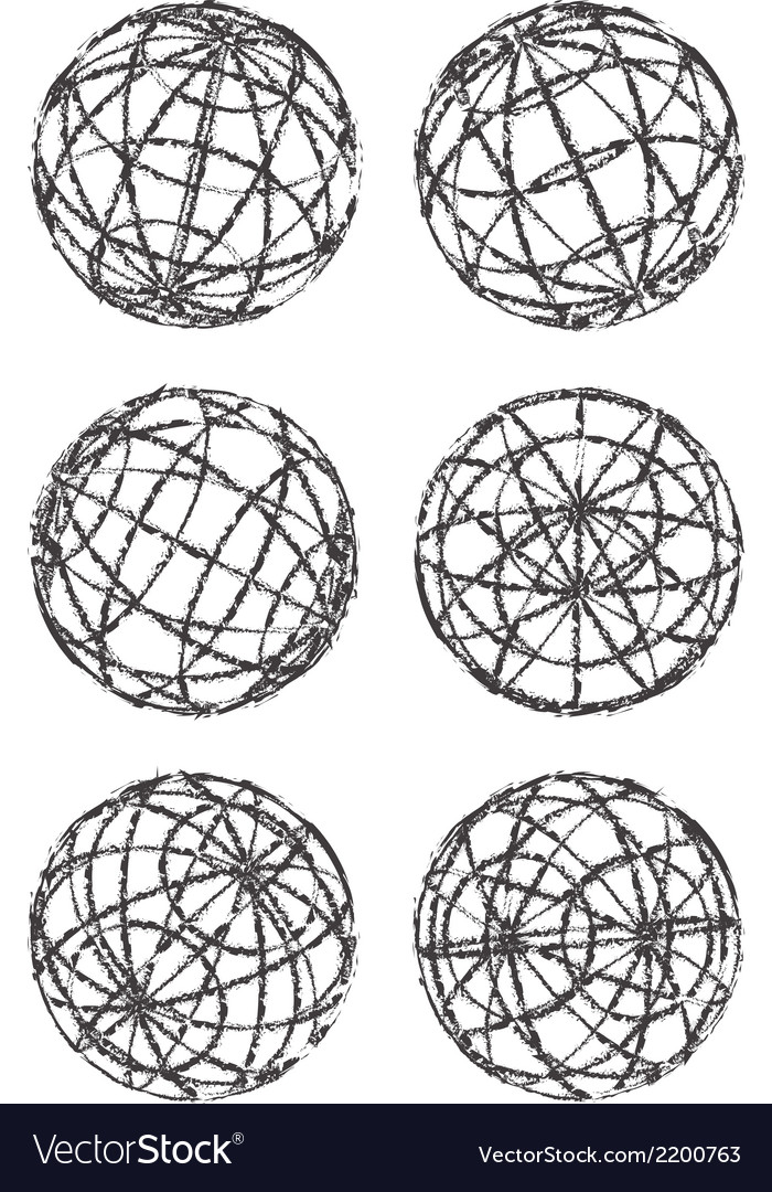 Set of abstract vintage globes vector | Price: 1 Credit (USD $1)