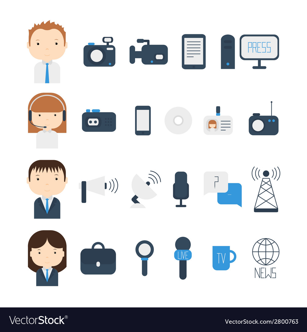 Set of flat colorful journalism icons mass media vector | Price: 1 Credit (USD $1)